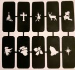 Christmas nail stencils for airbrush  Santa tree bell reindeer angel elf (mixed)